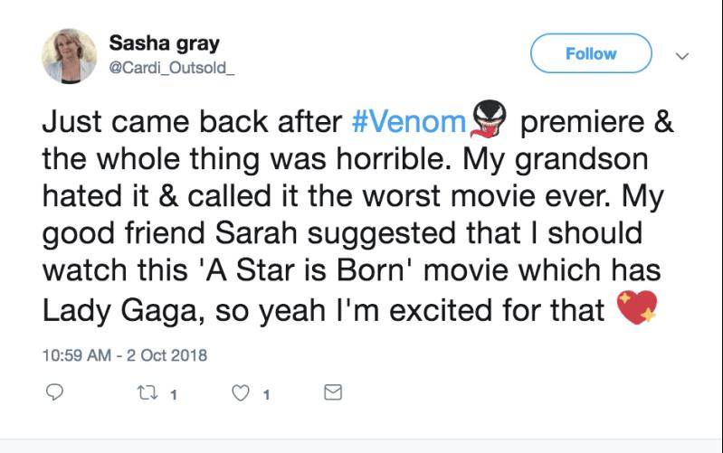 《 猛毒 》粉在推特酸《 一個巨星的誕生 》。