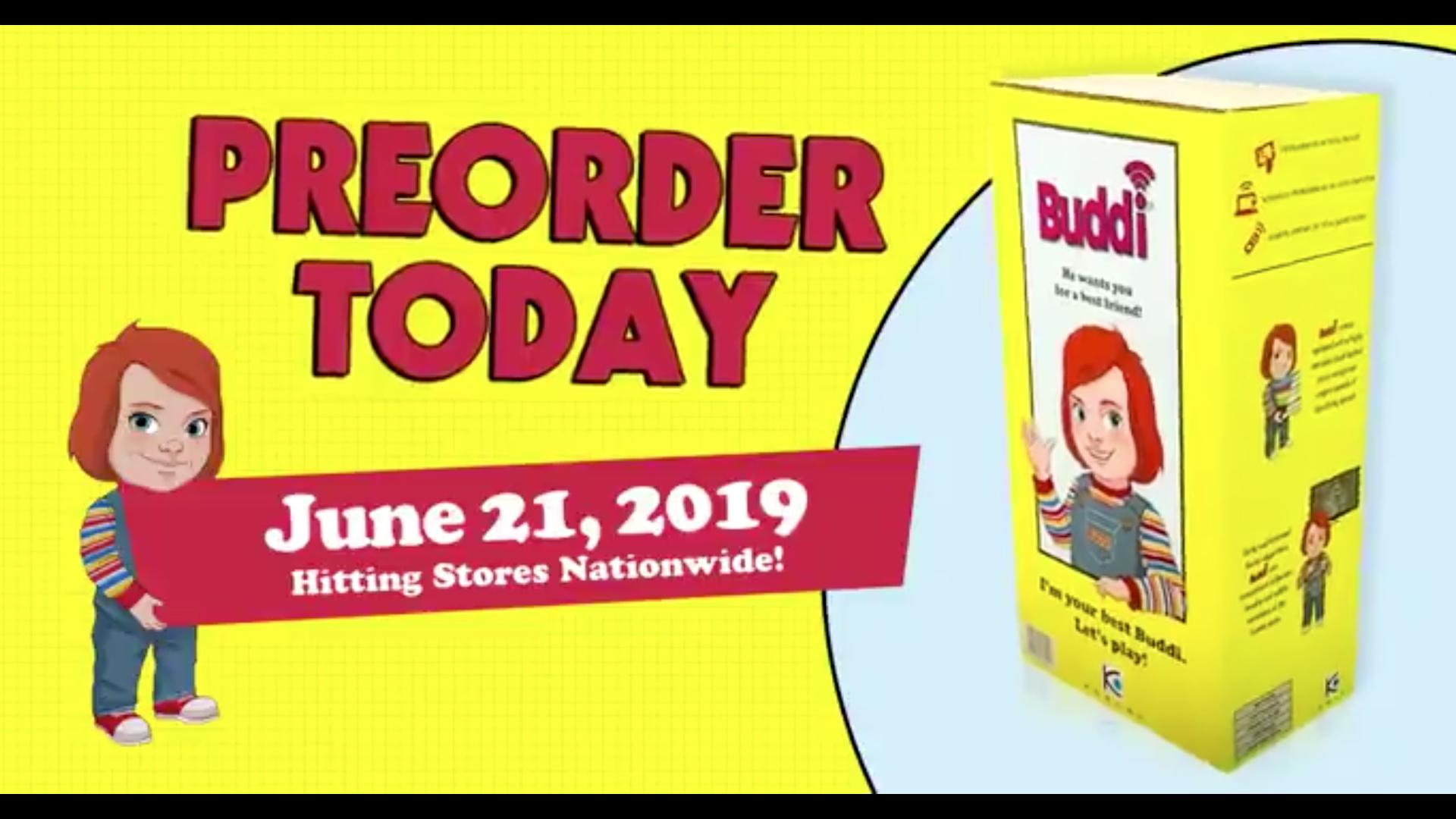 重啟版《靈異入侵》電影網站中, Buddi 娃娃的玩具禮盒介紹。