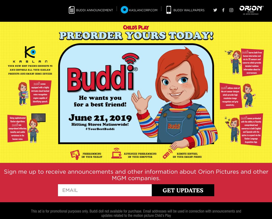 重啟版電影《靈異入侵》,鬼娃恰吉的宣傳網站。