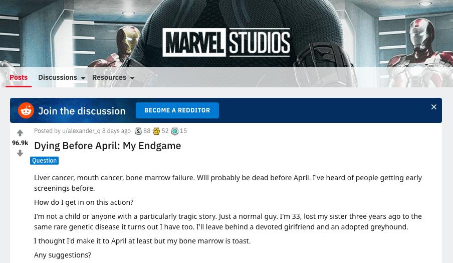 國外網友上網透露自己可能因病等不到《復仇者聯盟 4:終局之戰》上映。