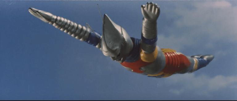 實際在《哥吉拉對美加洛》中登場的巨大噴射傑格飛過梅加洛。