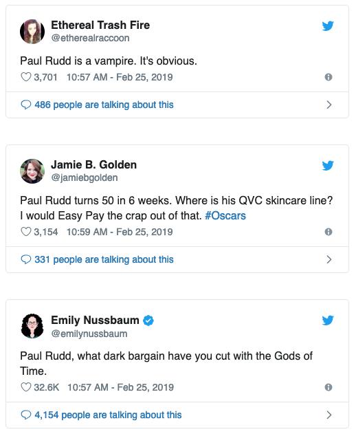 保羅路德受邀頒發 2019 年奧斯卡「最佳特效」獎,讓網友不禁再度猜測他長寶青春的祕密。