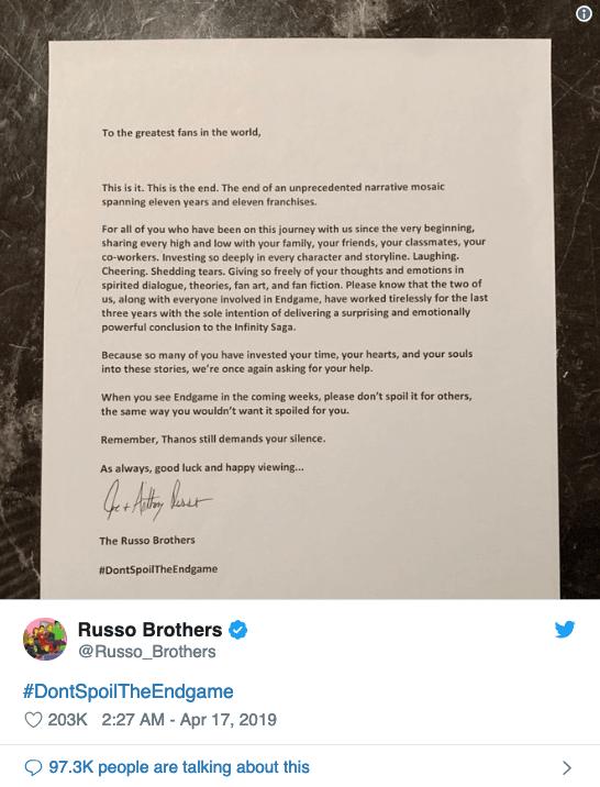 《復仇者聯盟:終局之戰》的導演:羅素兄弟發表公開信,譴責違法上傳電影片段爆雷的不當行為。