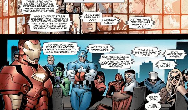 漫威漫畫《House of M》系列中,因緋紅女巫改寫現實得到沒有變種人的世界進入紛亂,復仇者聯盟連忙討論對策。