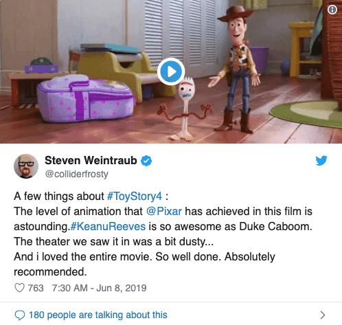 看完《玩具總動員 4》後的初期影評留言表示,非常喜歡故事後段基努李維配音演出「卡蹦公爵」的表現。