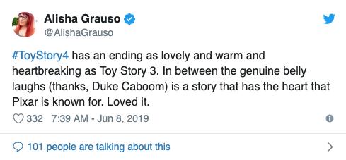 Alisha Grauso 給出的《玩具總動員 4》初期影評表示,非常感謝基努李維演出的卡蹦公爵一角。