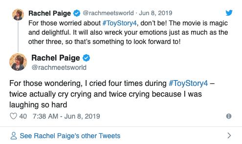 Rache Paige 對《玩具總動員 4》的初期影評給出了相當好的評價。