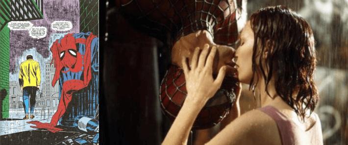 山姆雷米版《蜘蛛人 2》彼得丟棄蜘蛛裝的巷子,與首集他與 MJ 親吻的巷子是同一個地方。