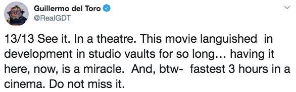 吉勒摩戴托羅呼籲務必要去電影院看馬丁史柯西斯的《愛爾蘭人》。