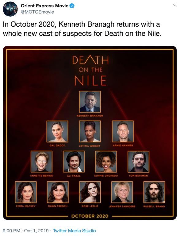 《尼羅河謀殺案》製作團隊日前於推特公布最新的卡司陣容。