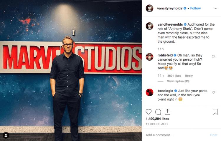 萊恩雷諾斯在他的 instagram 上透露他與漫威會面。