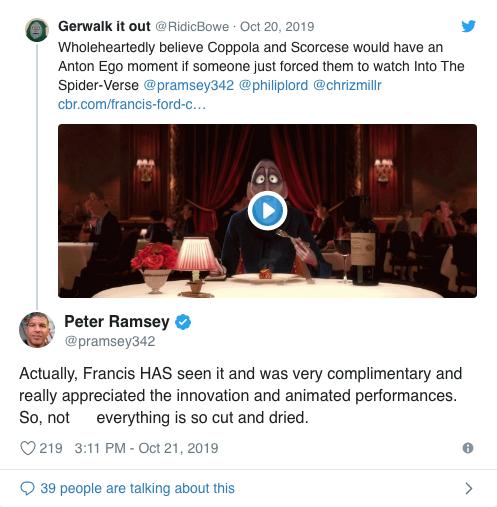 《蜘蛛人:新宇宙》聯合導演之一,彼德瑞塞透過推特回覆粉絲提問,透露法蘭西斯柯波拉其實很喜歡《蜘蛛人:新宇宙》。