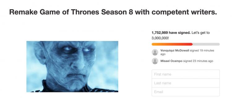 《冰與火之歌:權力遊戲》(Game of Thrones) 最終季讓許多粉絲感到憤怒