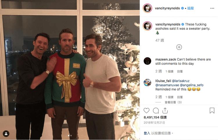萊恩雷諾斯在去年聖誕時曾被休傑克曼、傑克葛倫霍惡整。