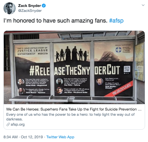 查克史奈德於推特發文對支持他的粉絲表示感謝。
