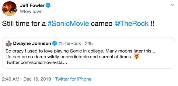 《音速小子》導演傑夫福勒針對巨石強森的發言回覆,表示很歡迎他來客串。