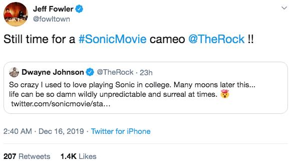 導演傑夫福勒也打趣地回應巨石強森。