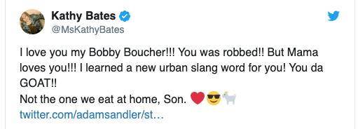凱西貝茲在推特回應,亞當山德勒是本屆奧斯卡遺珠。