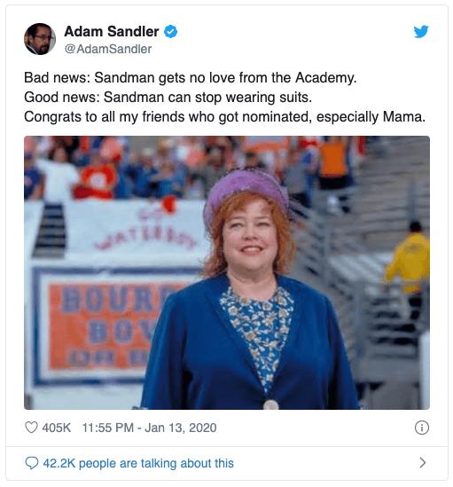 亞當山德勒 在推特宣布他沒有獲 2020奧斯卡 提名的消息,同時也恭喜入圍的 凱西貝茲。