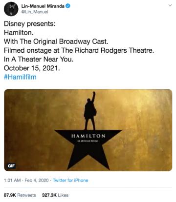 林曼努爾米蘭達日前在推特公佈了自己的經典劇作《漢密爾頓》即將搬上大銀幕。