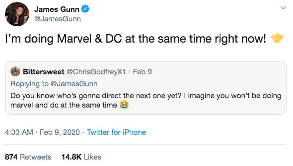 詹姆斯岡恩於推特上回覆粉絲的訊息,表示他現在正同時為漫威(星際異攻隊 3)與 DC(新版自殺突擊隊)工作。
