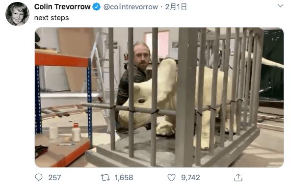 柯林崔佛洛於推特分享將會在《侏羅紀世界 3》出現的三角龍寶寶造型。
