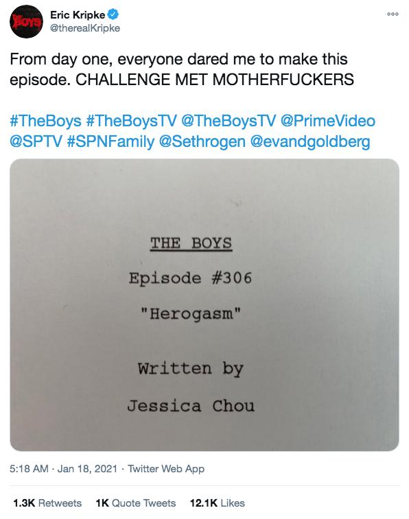 艾瑞克克里普基推特發佈反英雄影集《黑袍糾察隊》最新劇本封面。