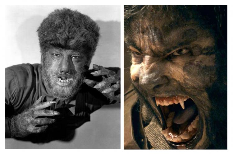《狼人》(1941) 與重拍版《狼嚎再起》(2010) 裡的賴瑞塔伯。