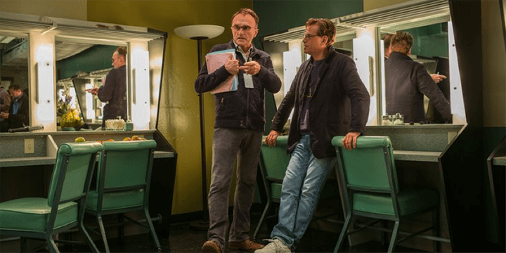丹尼鮑伊 (左) 艾倫索金 (右) 在《 史帝夫賈伯斯 》片場的留影。