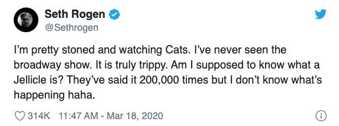 喜劇演員賽斯羅根 (Seth Rogen) 在推特上分享他對《貓 CATS》的一些想法。