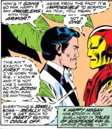 在《 鋼鐵人 》漫畫裡,保鑣哈皮 (Happy) 也真的穿過鋼鐵裝偽裝為鋼鐵人。