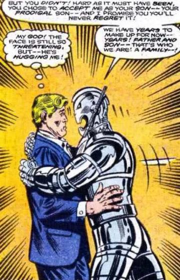 在漫畫裡, 漢克皮姆 是 奧創 的爸爸,看看他們父子感情多好!