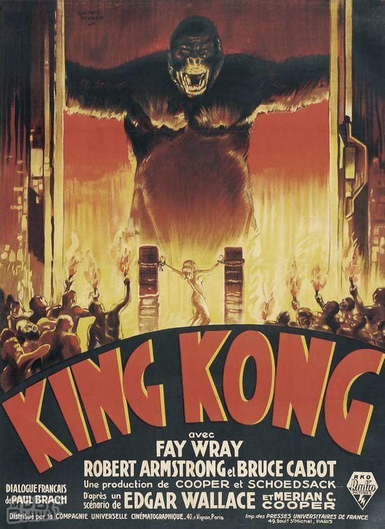 1933 年《 金剛 》電影海報。由於本作版權十分混亂,因此曾久未現身大銀幕。
