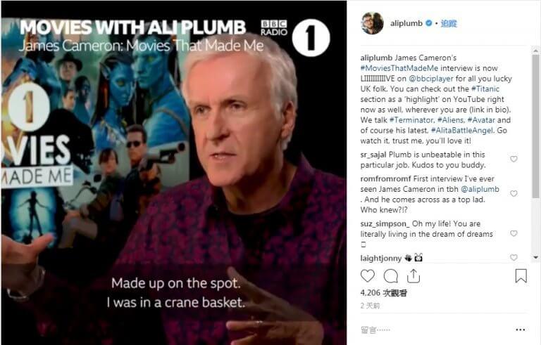 BBC 的 Ali Plumb 社群上可看見對《鐵達尼號》拍攝祕辛侃侃而談的詹姆斯卡麥隆。