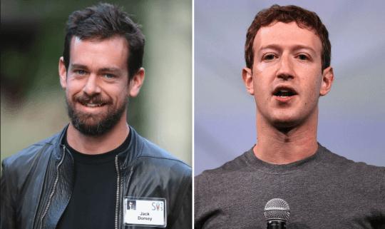 推特的執行長傑克多西 (Jack Dorsey)以及臉書執行長馬克祖克伯 (Mark Zuckerberg)