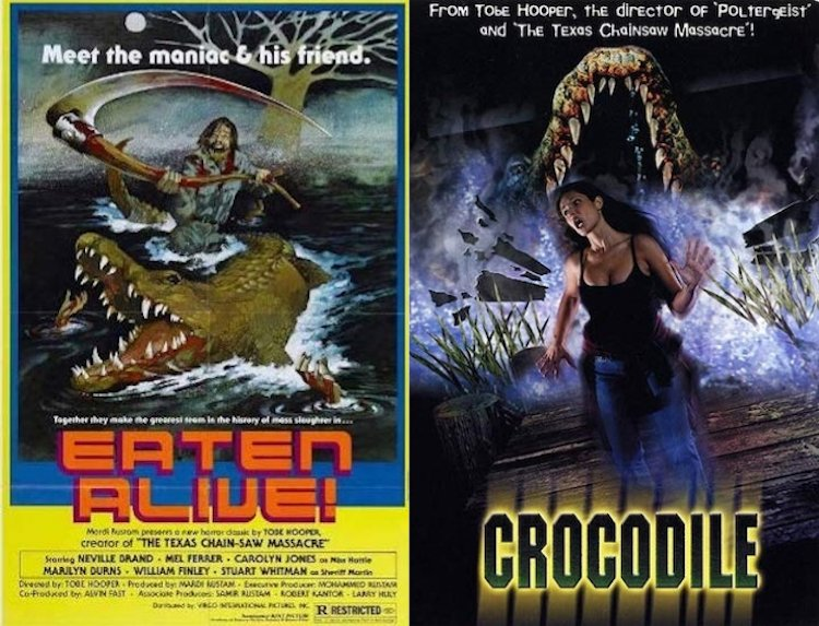 陶比胡波的《活人生吞》讓恐怖片中的鱷魚形象大大加深,2000 又執導鱷魚為題的恐怖片《驚世巨鱷》。