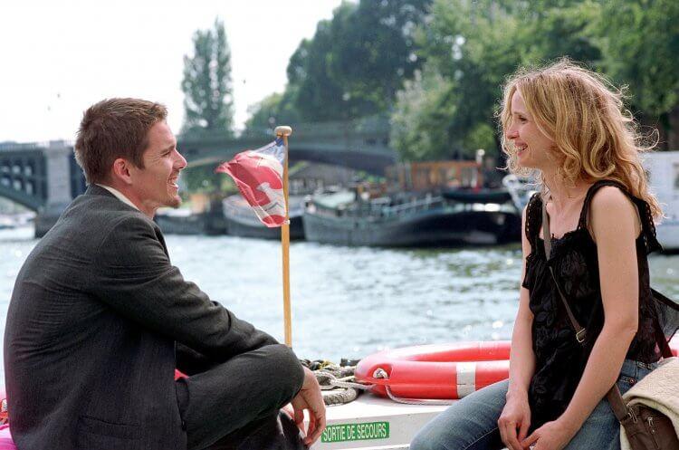 《愛在日落巴黎時》伊森霍克與茱莉蝶兒。