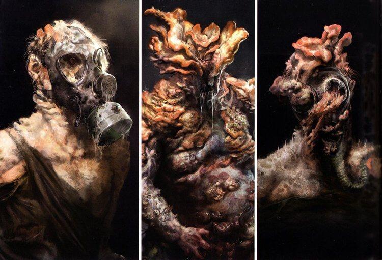 電玩《最後生還者》中人類感染真菌而發生突變。