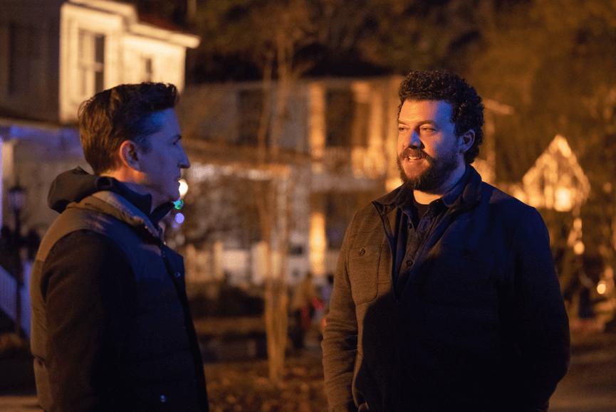 《月光光新慌慌》導演大衛高登格林 (左) 與編劇丹尼麥布萊 (右)。
