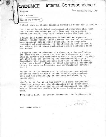 當年漫威希望能夠買下 DC 的內部文件。