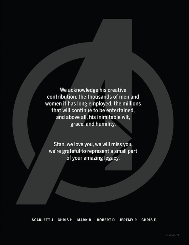 紀念史丹李  初代復仇者聯盟英雄們以及各大影業合作夥伴 刊登全版聯合廣告 紀念史丹李
