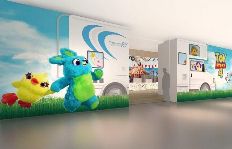 《玩具總動員 4》台北華山主題快閃店 RV 車設計示意圖,活動將於 7/12 開跑。