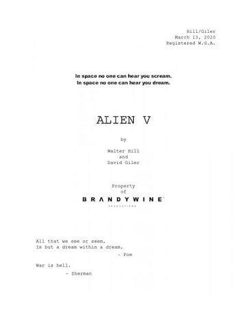 《異形 5》劇本。