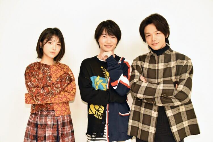 推理小說改編同名電影《屍人莊殺人事件》三位主演:濱邊美波、神木隆之介及中村倫也。