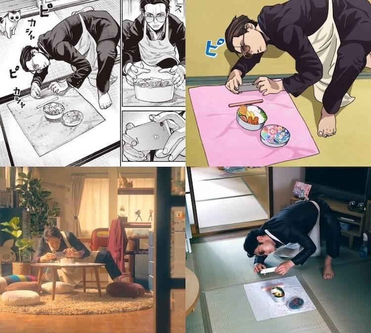 《極道主夫》原作漫畫、Netflix 動畫、玉木宏日劇、津田健次郎實寫版 PV 等四種不同版本的阿龍。