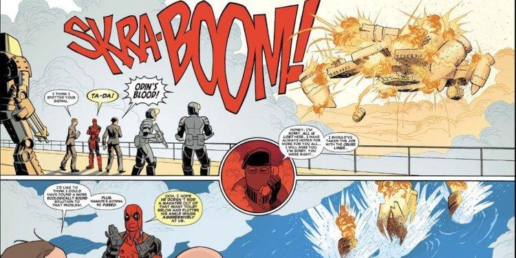漫威漫畫中,天空戰艦被死侍炸毀。