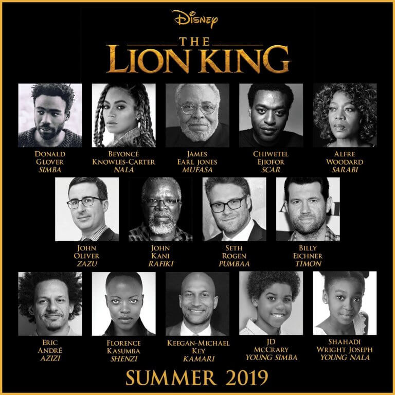 將於 2019 年上映的重啟版《獅子王》電影,配音名單眾星雲集。