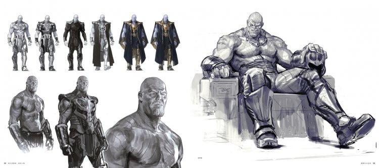 《復仇者聯盟 3:無限之戰》 電影美術設定集中,史上最棒大魔王──薩諾斯設定畫面。