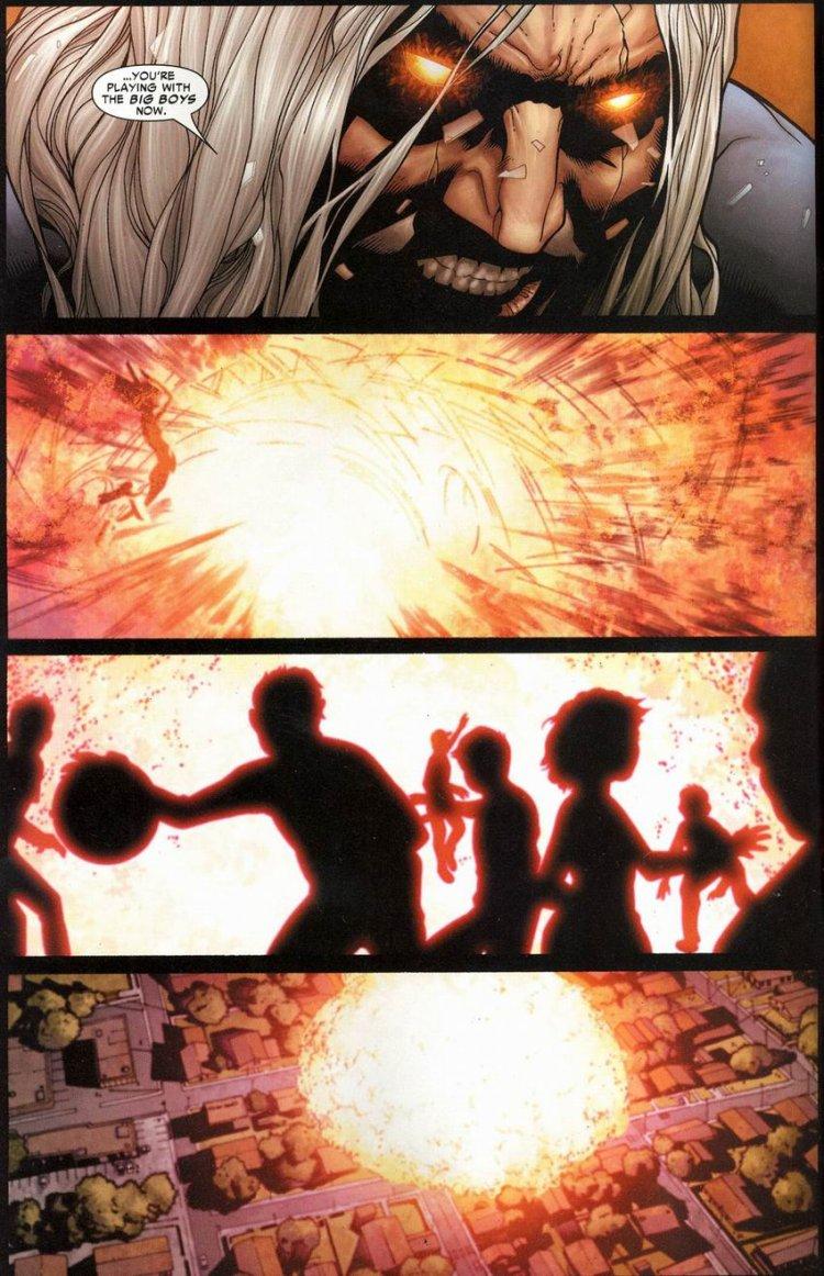 漫畫中反派「硝基」自爆,造成重大傷亡。
