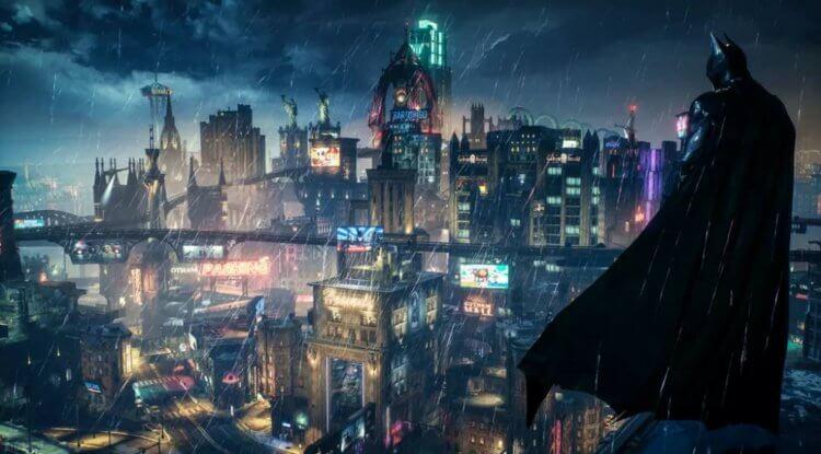 電玩《蝙蝠俠:阿卡漢騎士》裡的高譚市樣貌。